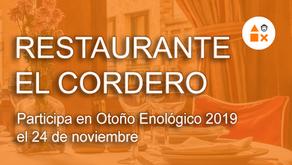 """Restaurante El Cordero participa el 24 noviembre en """"Otoño Enológico"""""""
