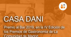 """Casa Dani """"Premio al Bar 2019"""" en la IV Edición de los Premios de Gastronomía de la CAM"""
