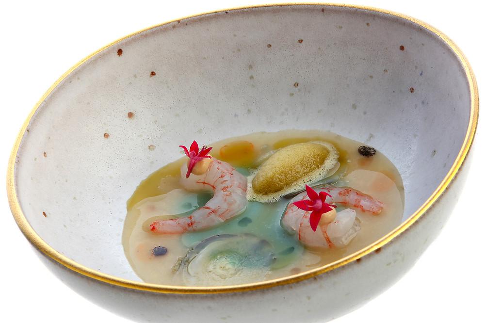 """Menestra, """"sunomono"""" y quisquilla del Mediterráneo (Cebo) - GastroMadrid"""