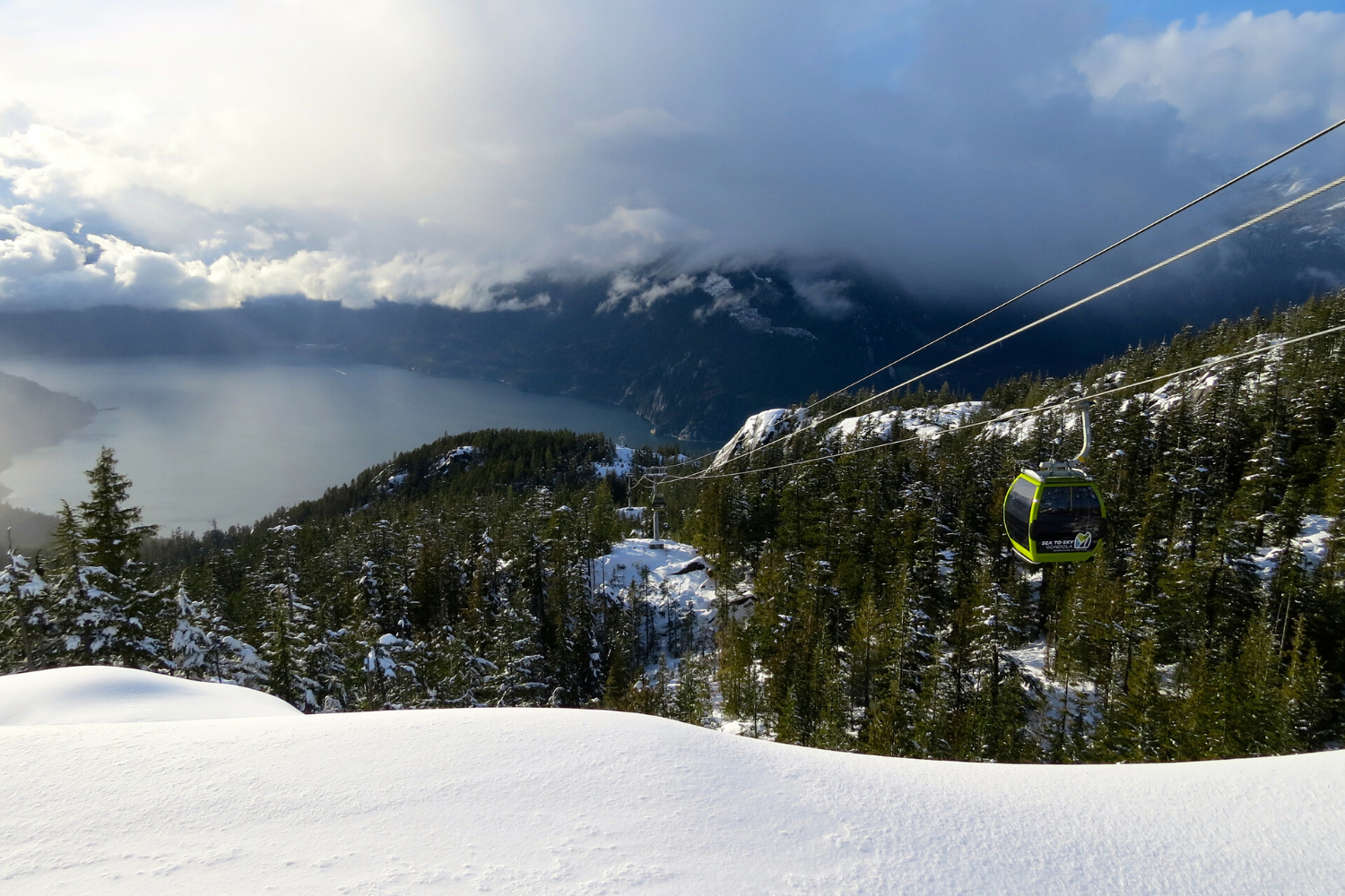 SView from Summit Lodge down the tram line to Howe Sound and Squamish