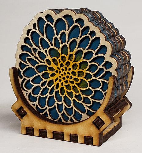 Blue Dahlia Coaster Set
