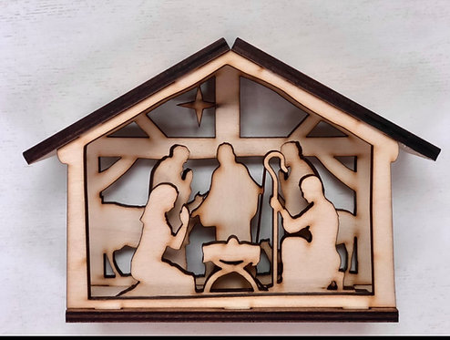 Large Nativity Shadow Box