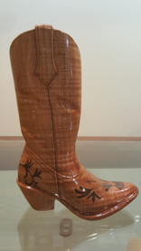 hand carved cowboy boot