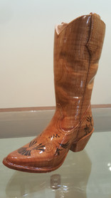 hand carved cowboy boot view 2
