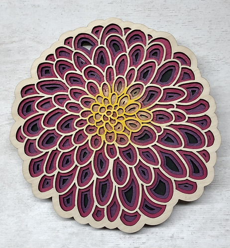 Purple/dark pink Dahlia trivet
