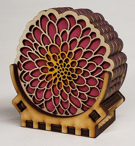 Pink Dahlia Coaster Set