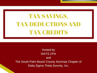 Tax Savings, Credits, and Deductions