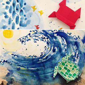Origami + watercolor demo for kids art class