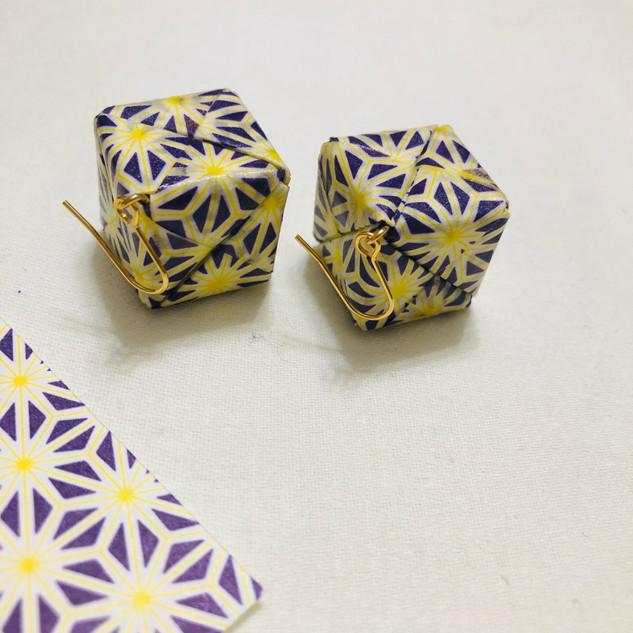 Origami cube earings