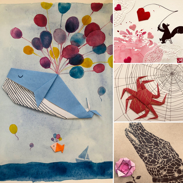 Kids class Origami and Watercolor demo