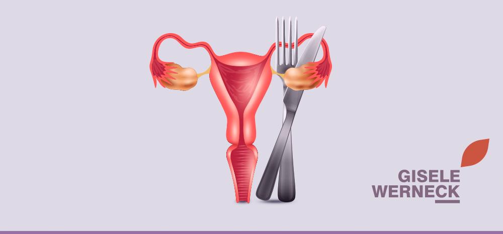Imagem de um útero com ovários e garfo e faca abraçado ao ovário direito