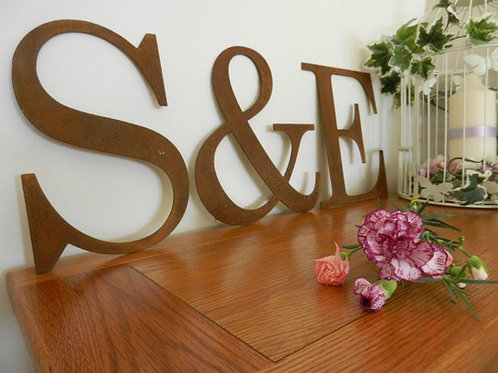 Rusty Metal Wedding Letters