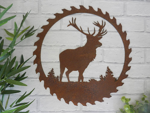 Rusty Metal Stag Saw Blade Wall Art