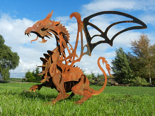 Rusty Metal Dragon Sculpture - Large