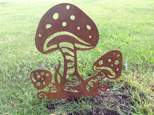 Rusty Metal Fairy Mushrooms