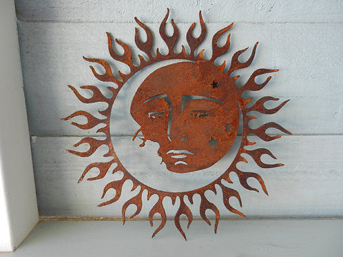Rusty Metal Sun Moon Star Wall Art