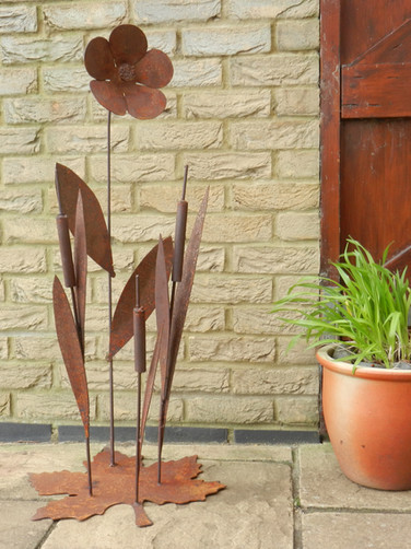Bullrush & Flower Patio Decor