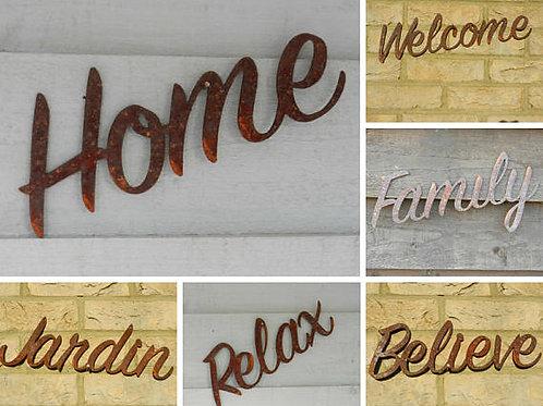 Rusty Metal Garden Sign