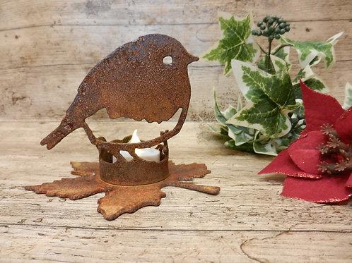Rusty Metal Robin Tealight holder
