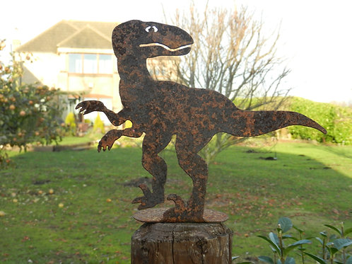 Rusty Dinosaur Fence Post Topper