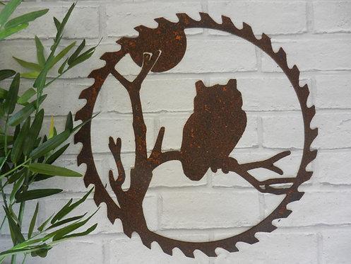 Rusty Metal Owl Saw Blade Wall Art