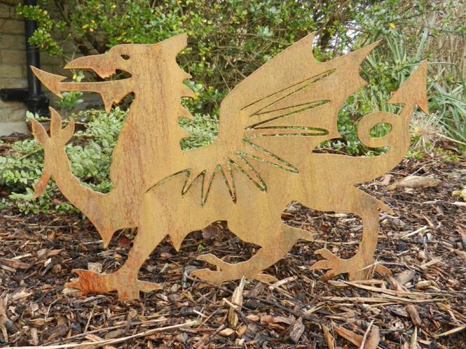 Rusty Metal Welsh Dragon Decoration