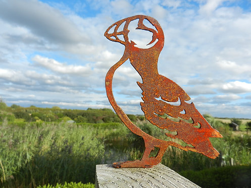 Rusty Metal Puffin Bird Fence Post Topper