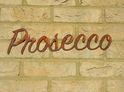 Rustic Metal Prosecco Garden Sign