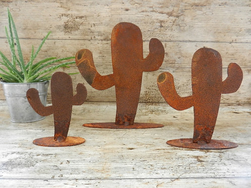 Rusty Metal Cacti Home Decor