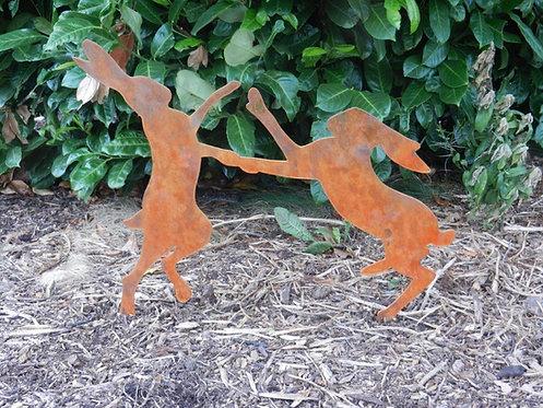 Rusty Metal Boxing Hares