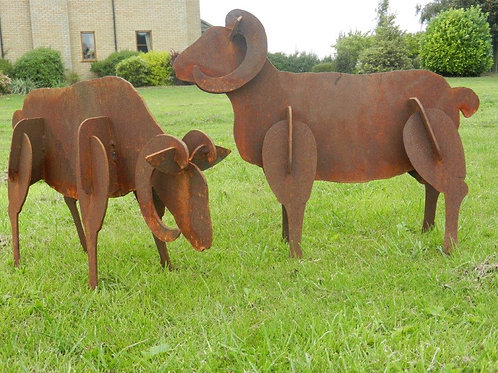 Rusty Metal 3D Sheep Statues
