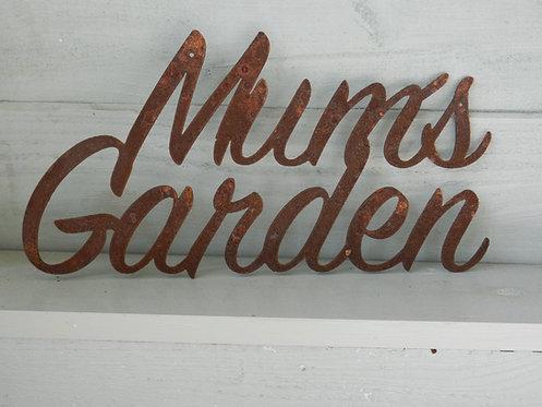 Rustic Metal Letters - MUMS GARDEN Garden Sign