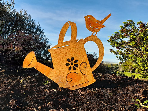 Wren & Watering Can Garden Decor
