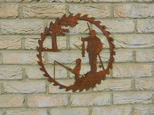 Rusty Metal Fisherman & Son Wall hanging Decor