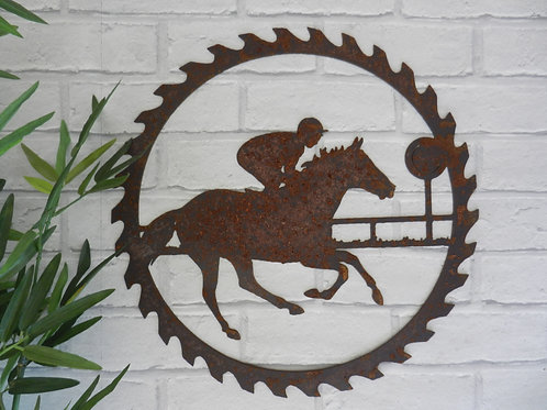 Rusty Metal Horse Racing Wall Decor