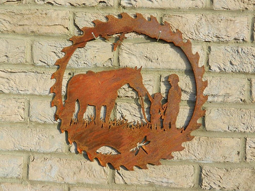Rusty Metal Horse Rider Gift