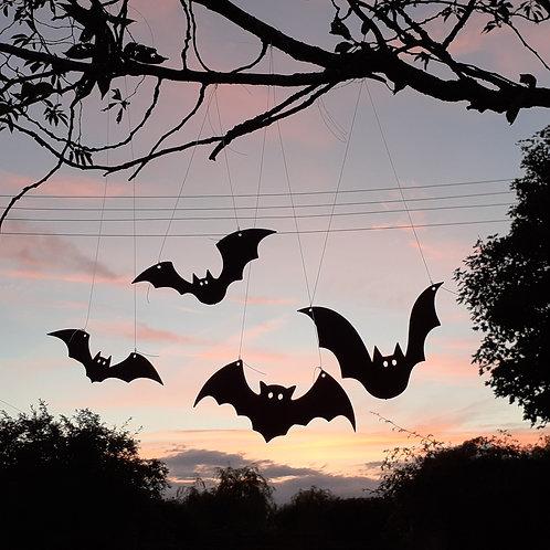Black Painted Halloween Bats (Set of 4)