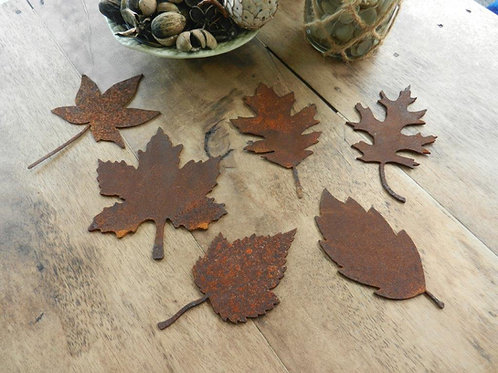 Rusty Metal Leaf Set
