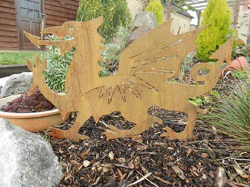 Rusty Metal Welsh Dragon Garden Art