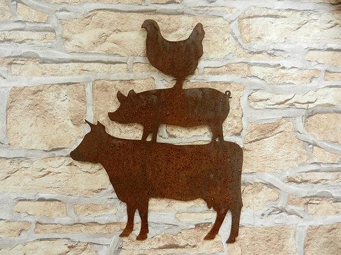 Rusty Metal Farm Animal Stack