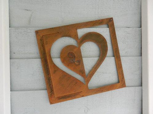 Rusty Metal Heart Plaque Wall Art