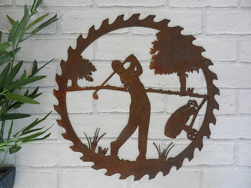 Rusty Metal Golf Saw Wall Art