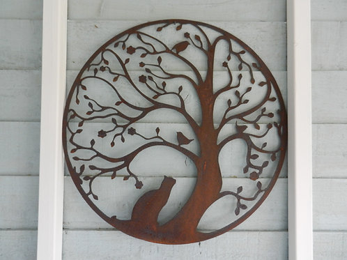 Rusty Metal Tree with Cat & Bird LARGE Wall Art