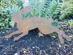 Rusty Metal Hare garden decor