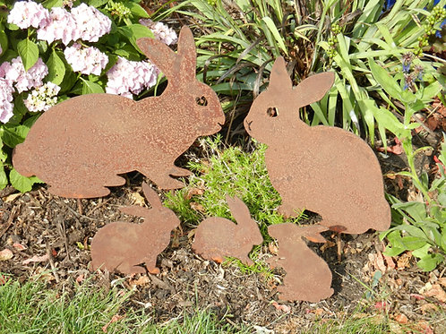 Rusty Metal Rabbit Family