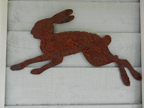 Rusty Metal Running Hare Wall Mounted