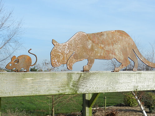 Rusty Metal Cat and Mouse