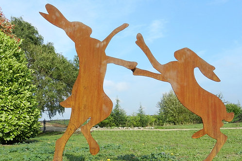 Rusty Metal Boxing Hares Sculptures