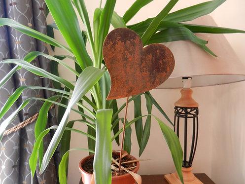 Rustic Metal Heart Plant Pot Stake