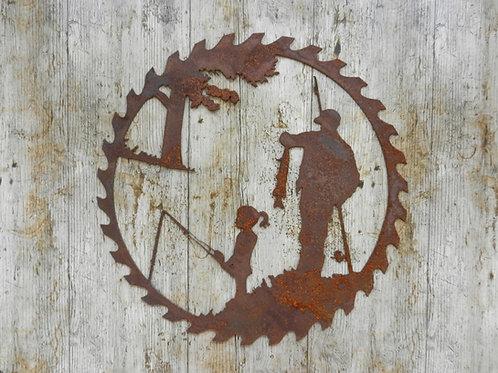 Rusty Metal Fisherman & Daughter Wall hanging Decor